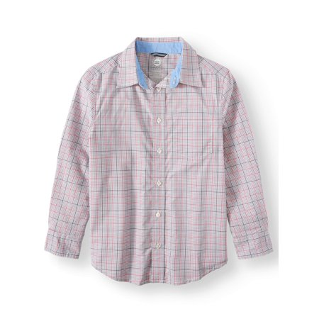 b7b86e46b Wonder Nation - Long Sleeve Stretch Button Up Plaid Shirt (Little Boys, Big  Boys, & Husky) - Walmart.com