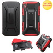For OneTouch IDOL 3 5.5 Black/Red Advanced Armor Stand Case Cover (With Holster)