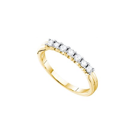 14K Yellow Gold 0.33ctw Shiny Shared Prong Diamond 7 Stone Fashion Band Ring