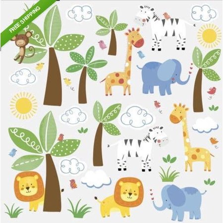 Baby Zoo Wall (New JUNGLE ANIMALS FRIENDS wall stickers 47 decals safari zoo baby nursery decor, Removable, repositionable peel and stick vinyl wall stickers.., By Nue)