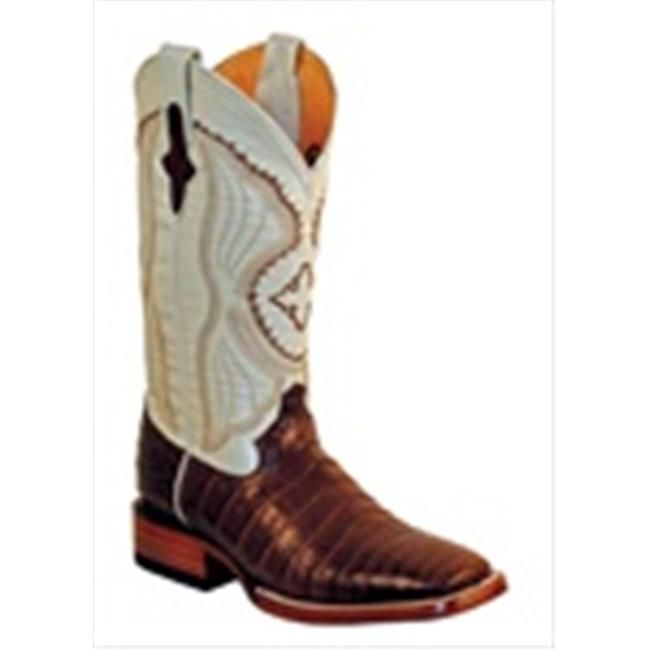 Ferrini 1249309085EE Mens Belly Caiman Square Toe Boots, Chocolate & Pearl, 8.5EE by Ferrini