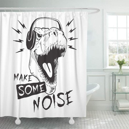 Pknmt Dino Music Fan Dinosaur Tyrannosaur In Headphones Design Make Some Noise Funny Bathroom Shower Curtain 66x72 Inch