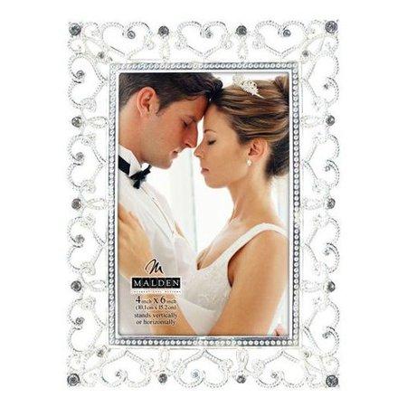 Malden Diamond Silver Hearts Wedding 4x6 frame