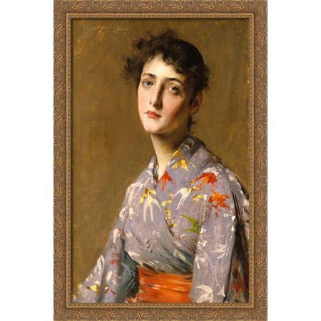 Girl in a Japanese Costume 28x40 Large Gold Ornate Wood Framed Canvas Art by William Merritt Chase