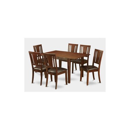 7 Piece Picasso Dining Table 32x60in With 6 Leather Upholstered Chairs
