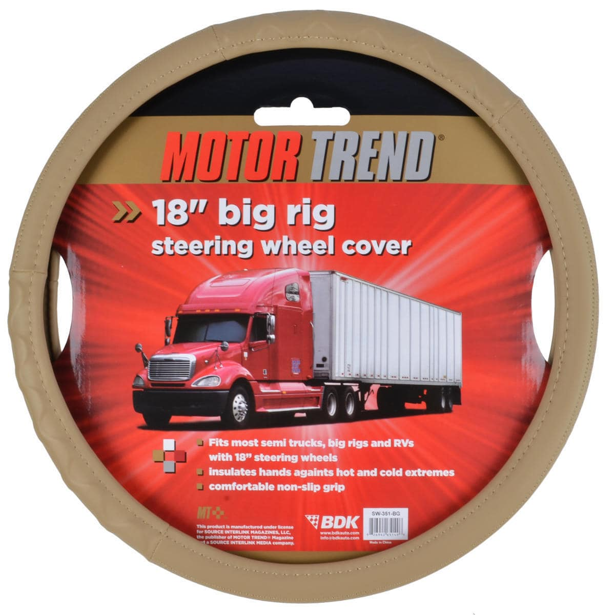 Motor Trend  18-inch Eco-friendly Trailer Tractor Car Steering Wheel Cover