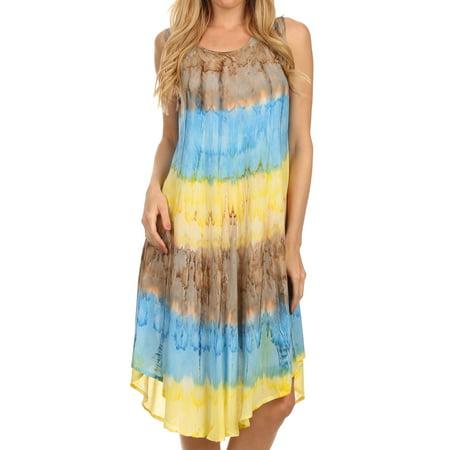 Sakkas Desert Sun Caftan Dress / Cover Up - Brown / Blue - One Size (60 Dress Up)
