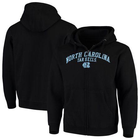 Name Zip - North Carolina Tar Heels Arched School Name & Mascot Full-Zip Hoodie - Black