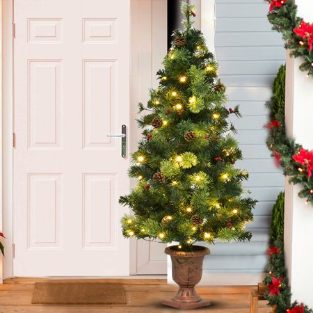 Costway 5FT Pre-Lit Christmas Entrance Tree w/ 100 LED Lights Red Berries Pine Cones