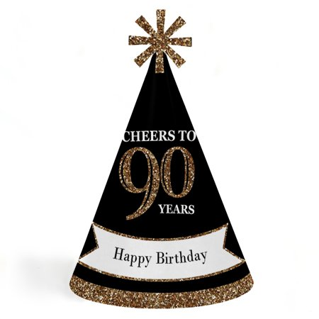 Adult 90th Birthday - Gold - Cone Birthday Party Hats for Kids and Adults - Set of 8 (Standard - Gold Party Hats