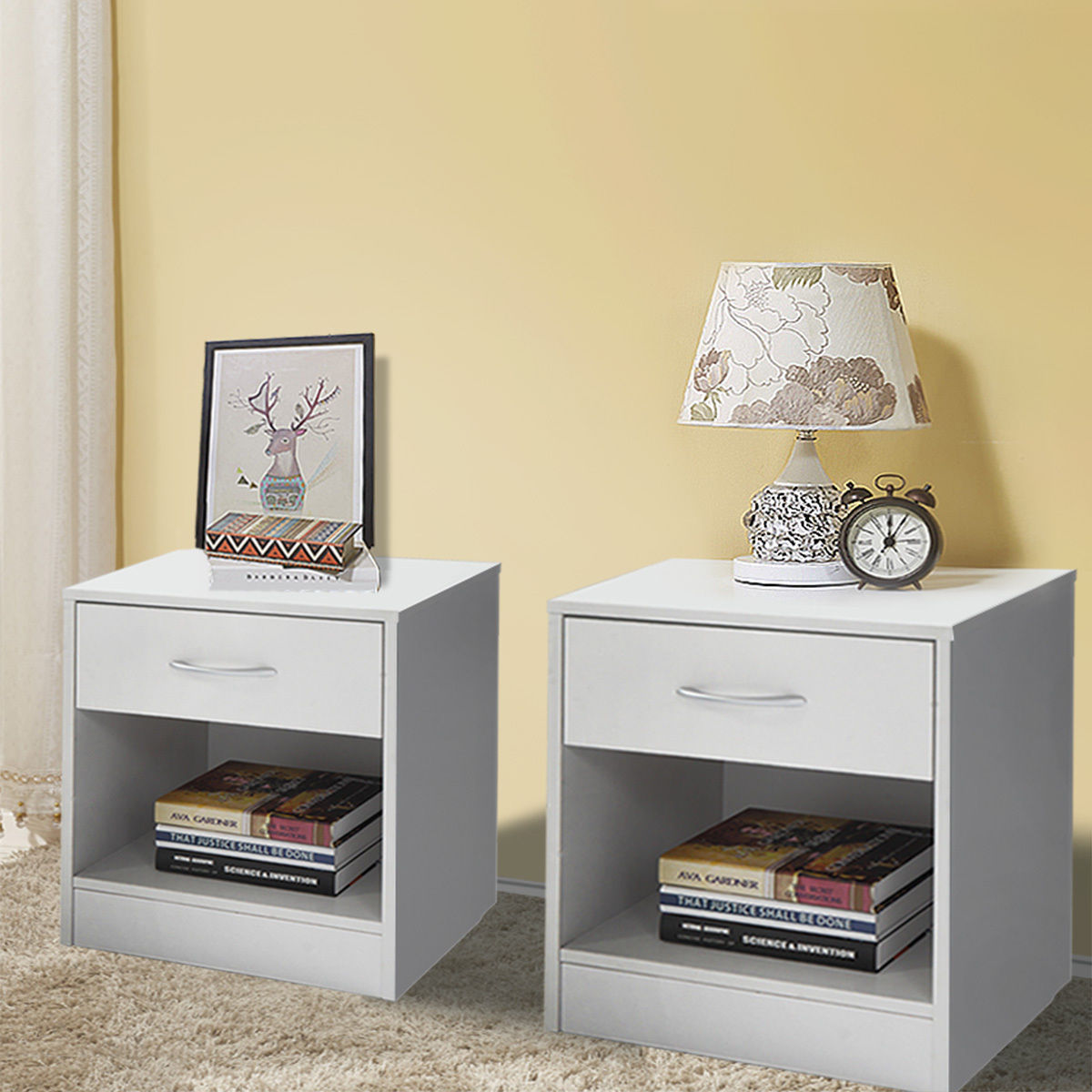 Lazymoon Set of 2 Night Stand Bedroom 2 Layer W/Drawer Bedside End Table Organizer White