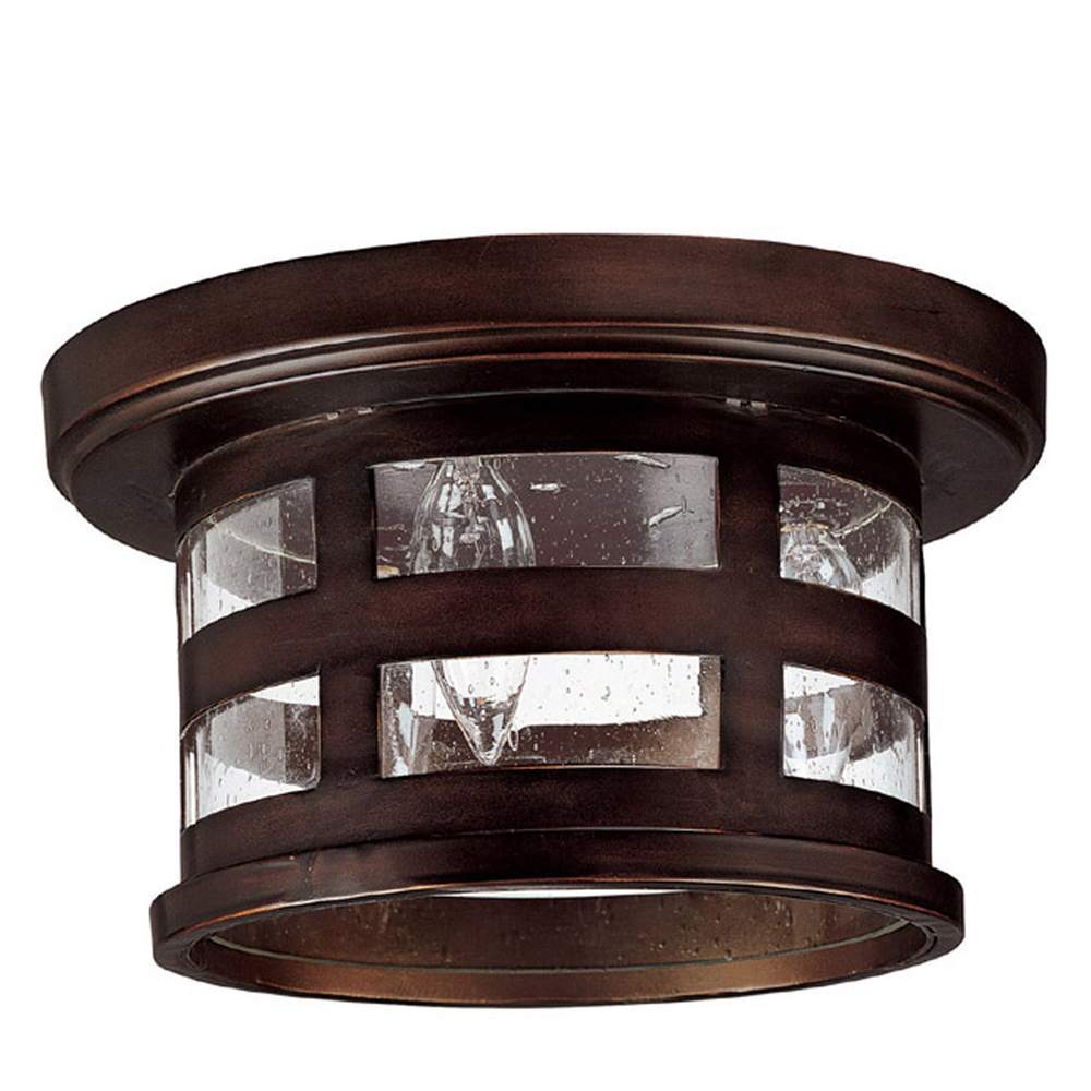 Capital Lighting 9956BB Outdoor Ceiling Fixture with Seeded Glass Shades, Burnished Bronze Finish