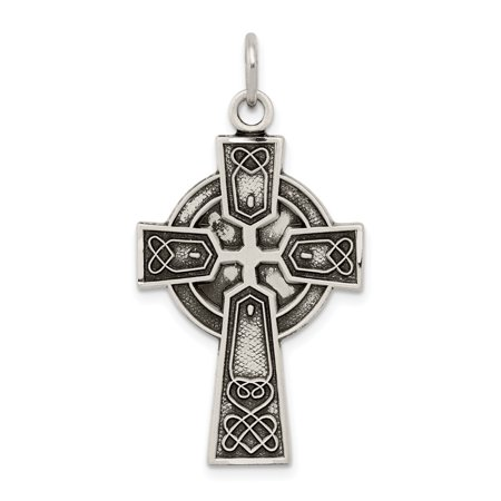 925 Sterling Silver Irish Cross Religious Pendant Charm Necklace Celtic Iona Gifts For Women For Her (Sterling Silver Irish Celtic Cross)