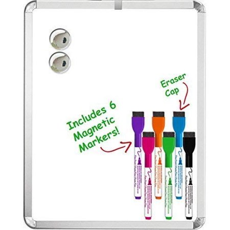 Kedudes Magnetic 11'' x 14'' Dry Erase Whiteboard. Includes 6 Magnetic Dry Erase Markers, Assorted Colors. Great For Fridge, Locker, and More! (Magnetic Board Accessories)