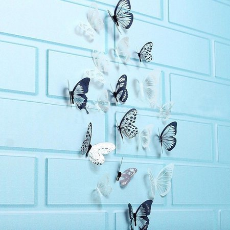 - Outtop 36 Pcs 3D Black White Butterfly Sticker Art Wall Decal Mural Home Decoration