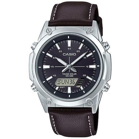 Men's Tough Solar Black Leather Band Watch AMWS820L-1AV - Leather Band Silver Watch