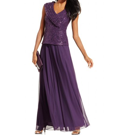Patra NEW Purple Sequinned Bodice Women's Size 6 Pleated Ball Evening Gown