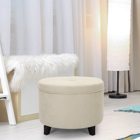 Joveco Round Storage Ottoman Footrest, Button Tufted Fabric Footstool with Removable Lid & Wood Legs,White