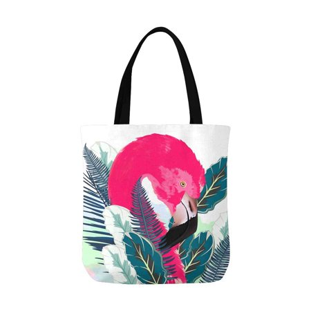 ASHLEIGH Beautiful Pink Flamingo and Palm Leafs Canvas Tote Bag Tote Shopping Bag Washable Grocery Tote Bag, Craft Canvas Bag for Women Men Kids (Flamingo Shoppen)