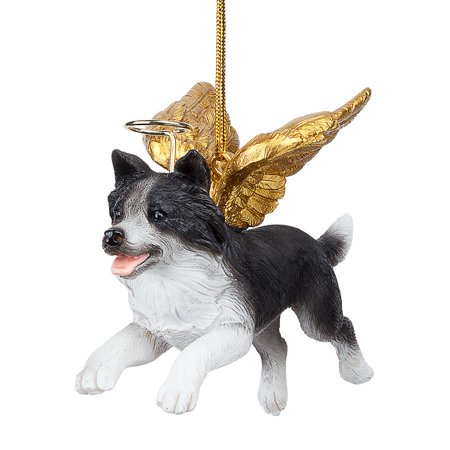 Design Toscano Honor the Pooch: Border Collie Holiday Dog Angel Ornament