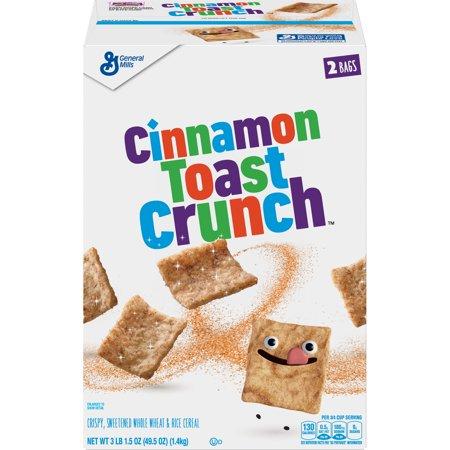 Cinnamon Toast Crunch Breakfast Cereal, Crispy, Sweetened Whole Wheat & Rice Cereal, 49.5 oz Box, 49.5
