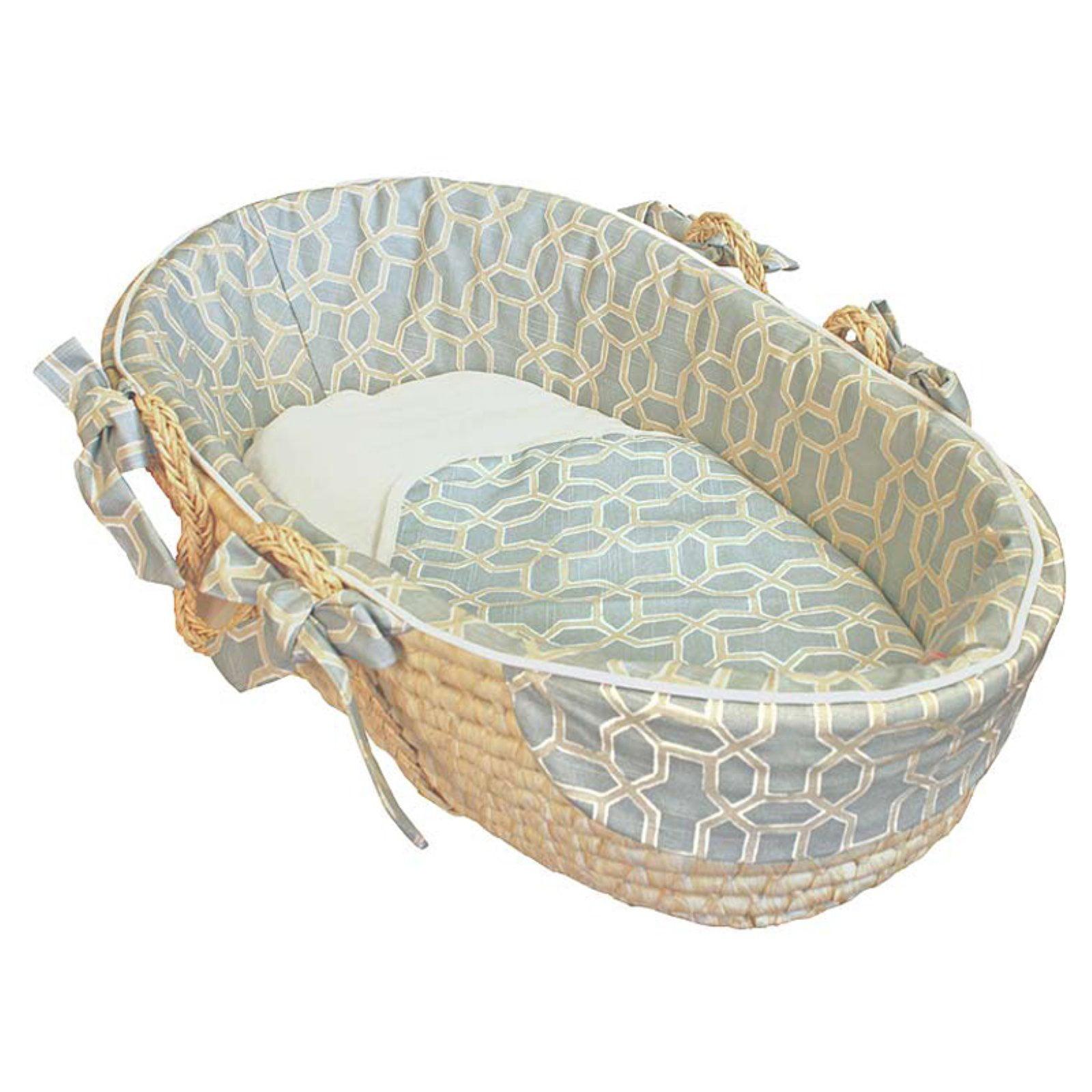 Hoohobbers Pebbles Sky Blue Moses Basket - Tailored