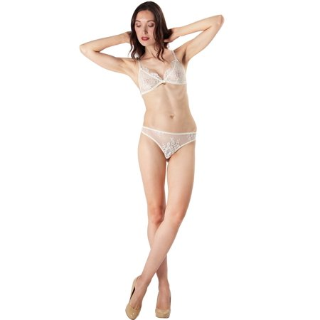 1d9773d2b87 MeMoi - MeMoi Lace Thong Small / Vanilla Ice CTH00122 - Walmart.com