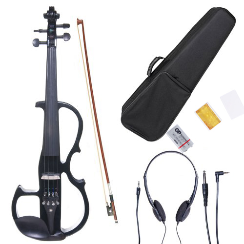 Zimtown 4/4 Solid Wood Electric/Silent Violin with Ebony Fittings in Style V-013 - Full Size