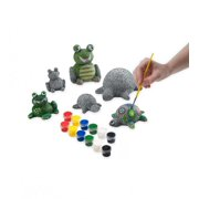 Paint-a-Rock-Pet Kit with 3 Turtles & 3 Frogs - Craft Kit for Kids