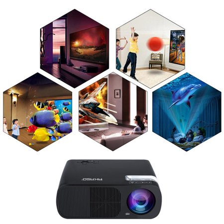 AKASO BL20 Portable Video Mini Projector 1080P Home Theater HD Display Support PC Laptop TV Box and More with HDMI/USB/AV/VGA input Remote Control