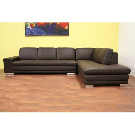Baxton studio princeton brown leather sectional sofa for Sectional sofas at walmart