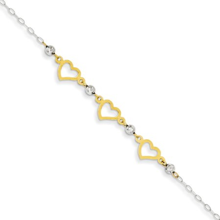 14K Two-tone Oval Link White Gold Beads and Heart Bracelet