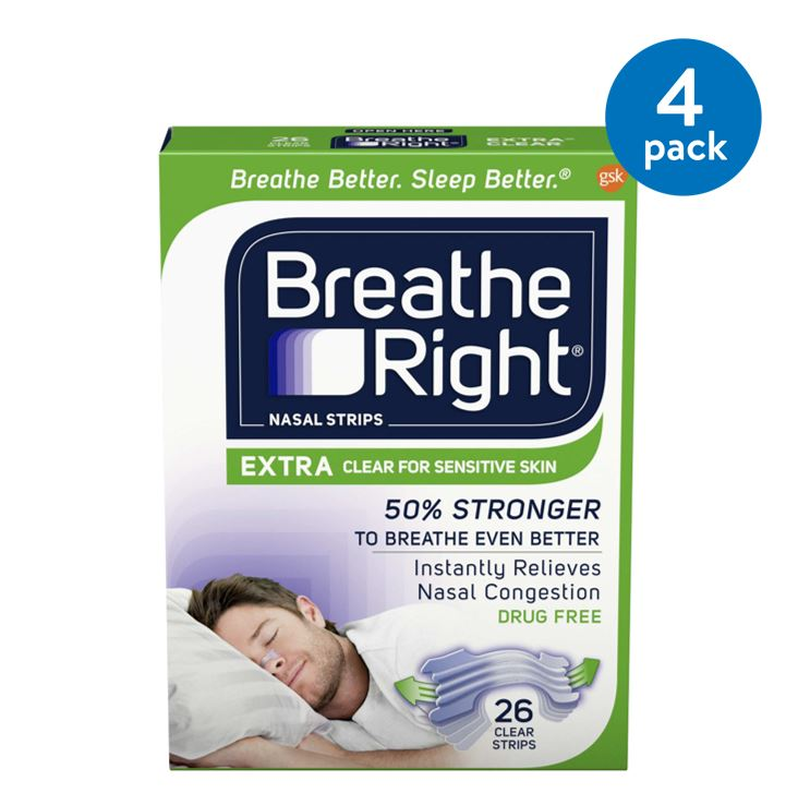 (4 Pack) Breathe Right Nasal Strips to Stop Snoring, Drug-Free, Extra Clear, 26 count