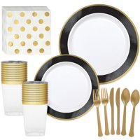 Party City Premium Tableware Supplies for 20 Guests, Includes Plates, Napkins, Cups, and Utensils