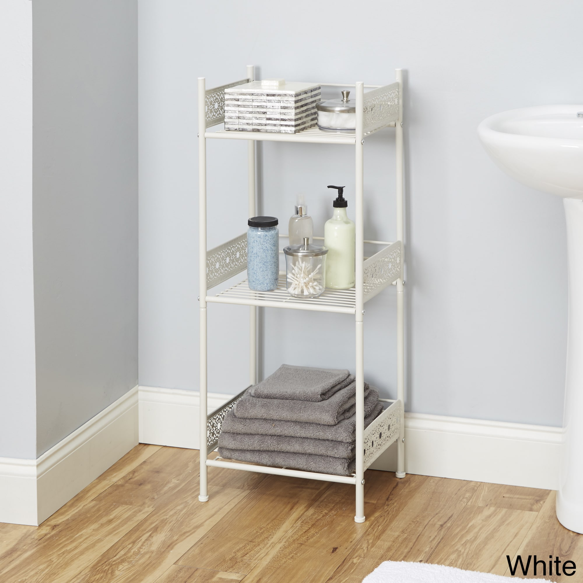 Silverwood Filigree Bathroom Collection Floor Shelf 36 H Nickel