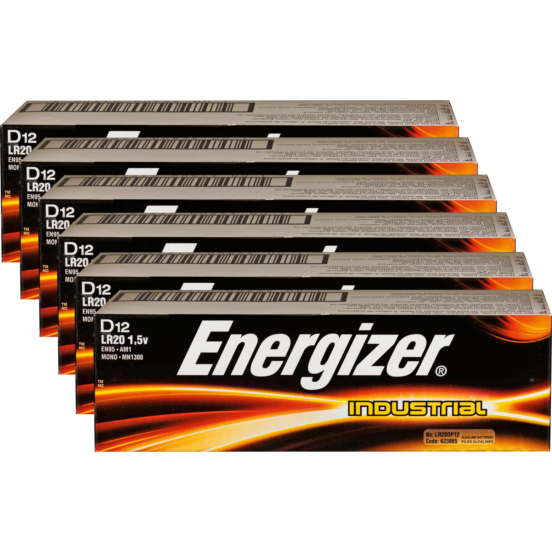 Energizer, EVEEN95CT, Industrial Alkaline D Batteries, 72 / Carton