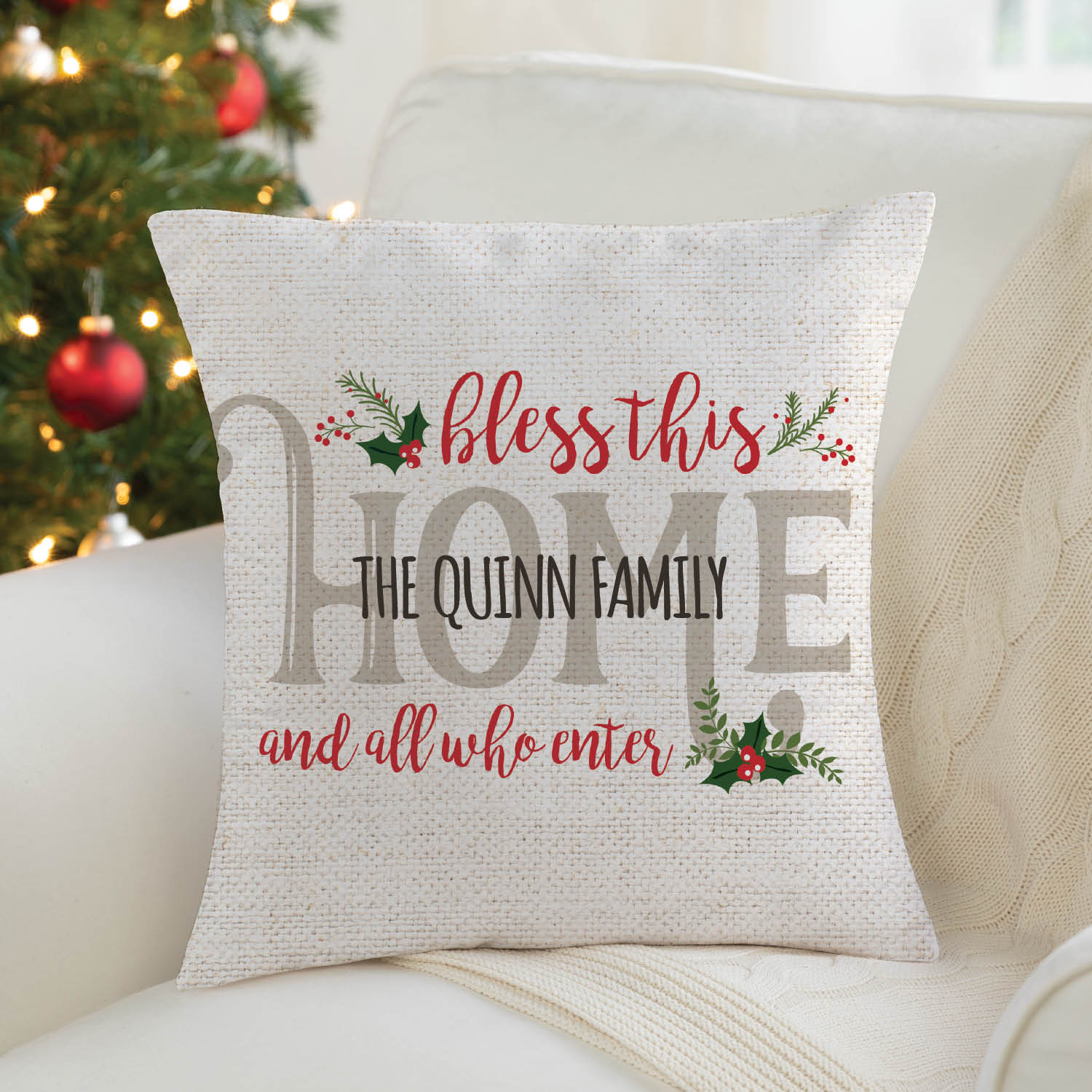 Holiday Bless This Home Personalized Throw Pillow