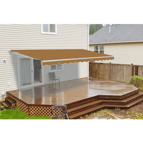 ALEKO 16'x10' Retractable Motorized Patio Awning, Sand Color