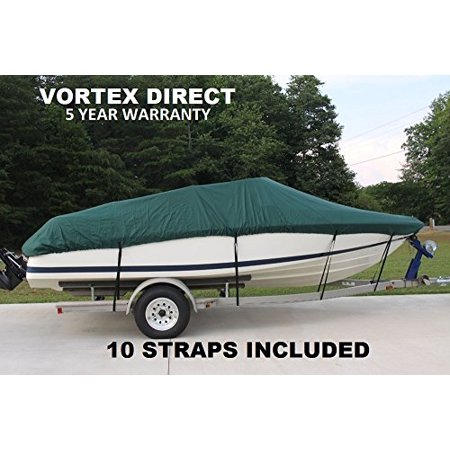 VORTEX HEAVY DUTY 24 FT *GREEN* VHULL FISH SKI RUNABOUT COVER FOR 22' to 23' to 24' FT foot BOAT (FAST SHIPPING - 1 TO 4 BUSINESS DAY DELIVERY)