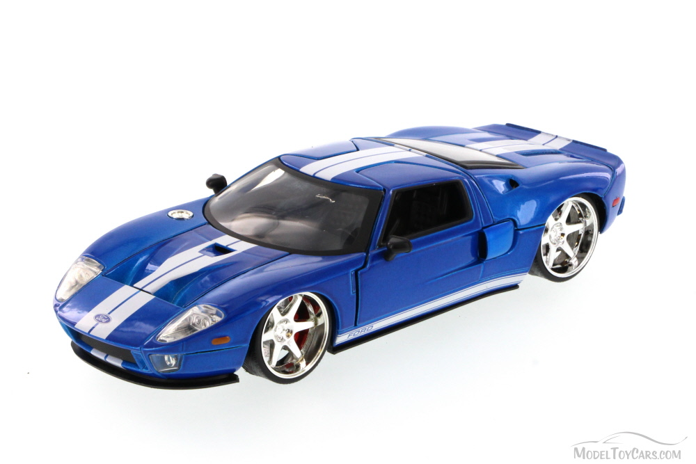 Fast Furious Ford Gt Hard Top Blue With White Stripes Jada  Scalecast Model Toy Car Walmart Com