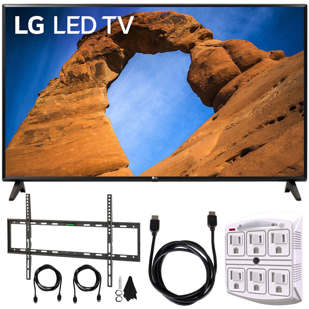 """LG 43LK5700PUA 43""""-Class HDR Smart LED Full HD 1080p TV (2018) + Flat Wall Mount Kit Ultimate Bundle for 45-90 inch TVs + 6ft HDMI Cable + SurgePro 6-Outlet Surge Adapter w/ Night Light"""