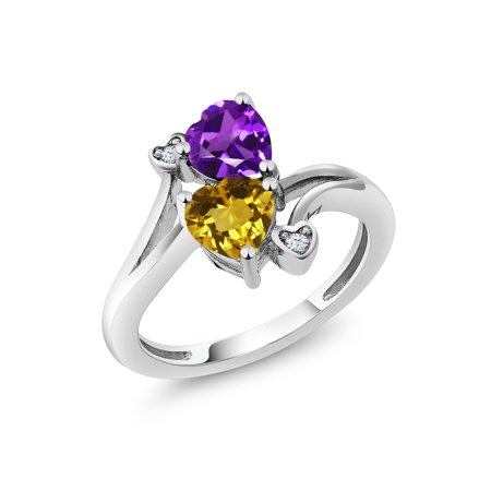 Citrine Amethyst Diamond Heart - 1.38 Ct Heart Shape Purple Amethyst Yellow Citrine 925 Sterling Silver Ring
