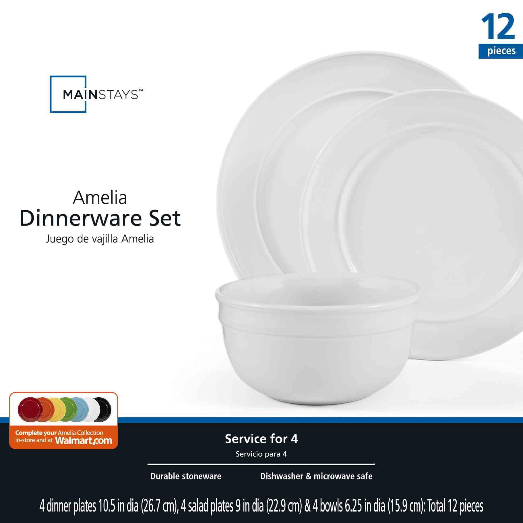 sc 1 th 225 & Mainstays Amelia 12-Piece Solid Color Dinnerware Set - Walmart.com