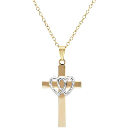 Sterling Silver and 18kt Gold Plate Cross with Open Double Hearts Pendant, 18