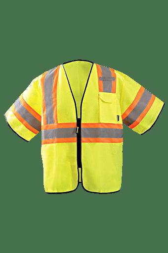 Occunomix ECO-GCZ32T-YLXL Two-Tone Mesh Vest w/Zipper, Yellow, L/XL, Class 3