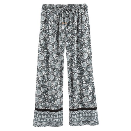 Print Pyjama Bottoms - Women's Leaves & Flowers Lounge Pants -Pajama Bottoms Black & White