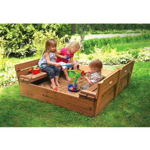 Ktaxon Fir Wood Sandbox with Two Bench Seats Cedar Sandbo...