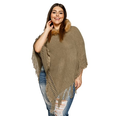 61b0f797fda Xehar - Xehar Women s Plus Size Asymmetrical Knit Fringe Faux Fur ...