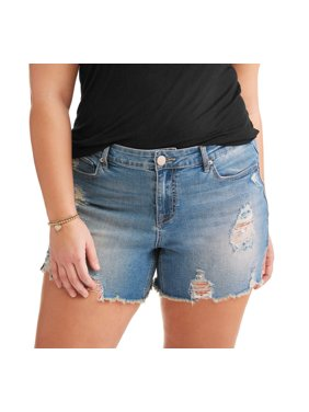 b05823bf4e Product Image Women's Plus Sharkbite Fray Hem Boyfriend Denim Shorts