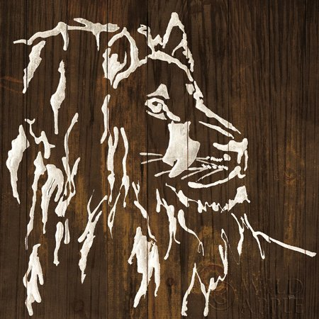 White Lion on Dark Wood Poster Print by Chris Paschke